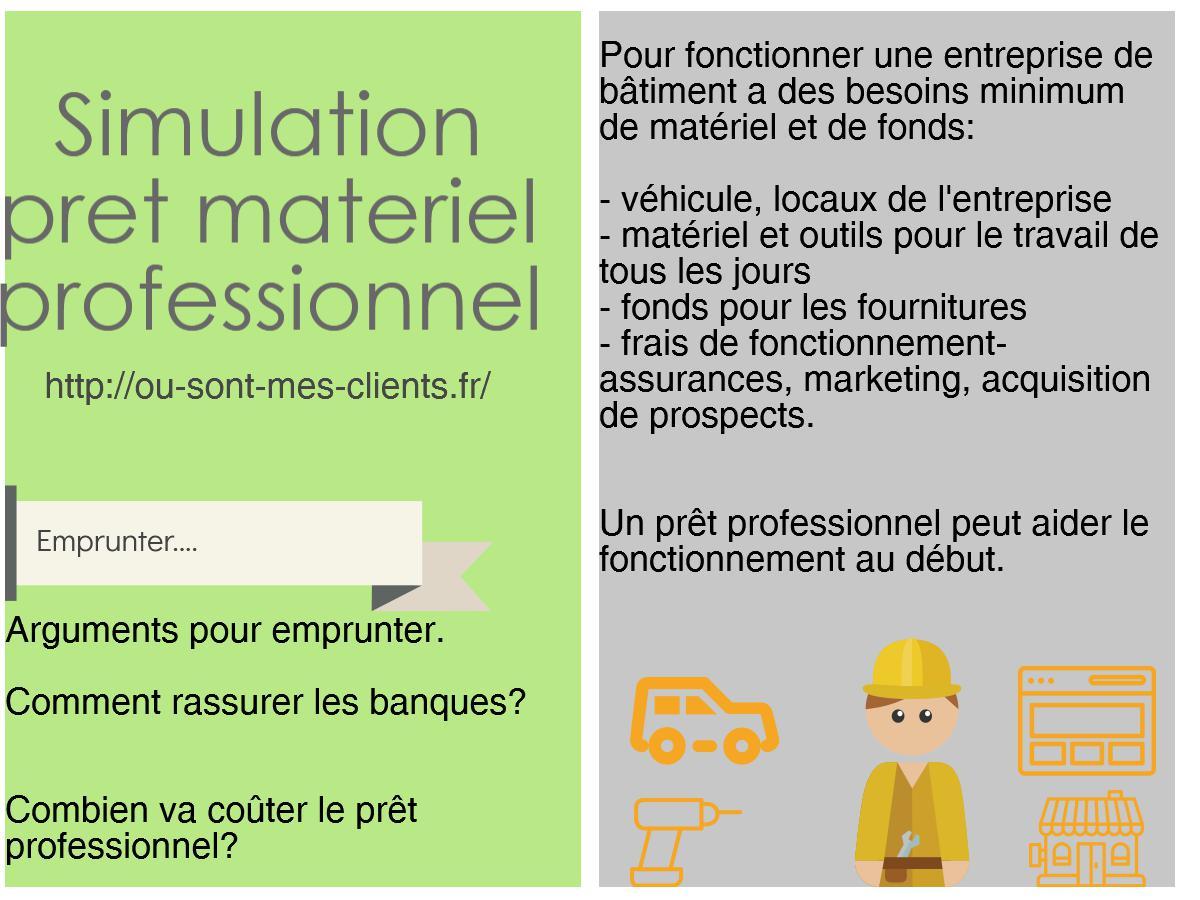 Simulation pret materiel professionnel